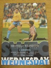23/11/1991 Sheffield Wednesday v Arsenal  . Footy Progs/Bobfrankandelvis, experi