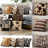 Animal Print Fleece Pillow Case Zebra Leopard Waist Throw Cushion Cover Sofa US