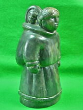 Vintage Canadian Canada Custom Hand Made Stone Woman Child Figurine Statue