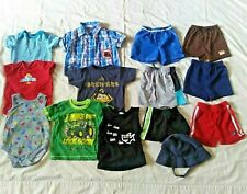 Lot of 14 Toddler Boys Clothes Shirts Shorts Bodysuits Hat Size 12 Months Summer