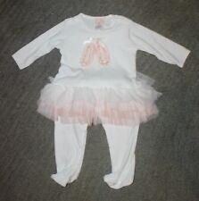 Baby Biscotti Baby Girls White Cotton Romper (One-Piece) - Size 6-9 Months - New