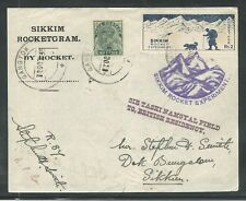 1935 Sikkim INDIA rocket mail R.87 signed Stephen H. Smith - EZ 14C1