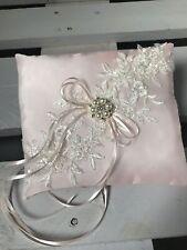 Blush Pink Wedding Engagement Ring Cushion Bearer Pillow Pearls Diamanté GLAM