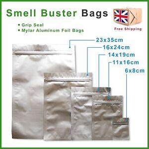 Smell Proof Bags Food & Herb Stash Odour Buster Grip Lock Mylar / Aluminum Foil