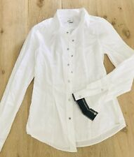 DIESEL WOMENS SHIRT COTTON BUTTONS BLACK WHITE TAILORED SZ S