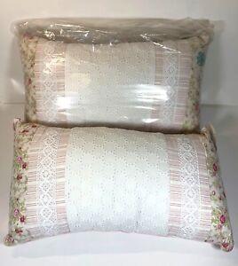 Vintage Rectangular Pillows 2 Pcs Set - Pink/Green Floral