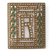 Ralph Lauren Collection Brass R Crystal Art Deco Brooch Pin