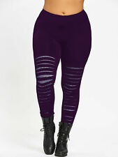 Plus Size Women Lady Galaxy Ripped Leggings Skinny Tight  Pencil Long Pants