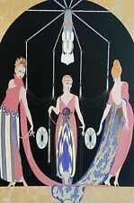 Erte 1987 THREE GRACES LADIES Wall Art Deco Matted Fashion Print Ready to Frame