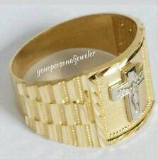 Man's 10k yellow Gold Jesus crucifix Cross Ring S 9 10 11