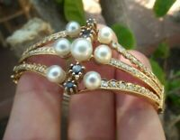 3 CTS DIAMOND SAPPHIRE PEARL 14K YELLOW GOLD BANGLE HANDMADE BRACELET 27.8gr