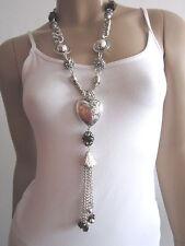 Modekette lang Damen Hals Kette Bettelkette Modeschmuck Silber Schwarz Herz B045