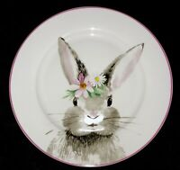 Ciroa Set/4 Bunny Salad/Side Plates NEW Easter Spring Rabbit Flower Fast Ship!