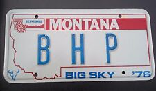 "MONTANA VANITY LICENSE PLATE "" B H P "" BILL BOB BETTY BRIAN PETERS POWELL PORTER"