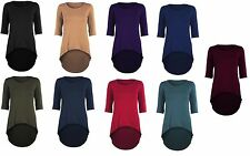 Viscose Crew Neck 3/4 Sleeve Casual Tops & Shirts for Women