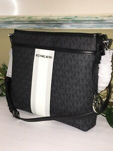 MICHAEL KORS BEDFORD STRIPE SMALL NS CROSSBODY MESSENGER BAG MK BLACK SIGNATURE