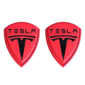 2x Red Black Tesla Logo LH&RH Fender Emblem Stickers for Model 3 S X Y Roadster