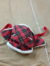 Petco One Size Xs Small Velcro Winter Red Flannel Cap VGC Ear Holes