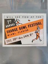 VINTAGE 1941 7th Annual Orange Bowl Festival Poster Stamp Football MIAMI