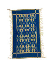 Hand Woven Made Wool Reverisible Traditional Small Rug Door Mat Blue Brown