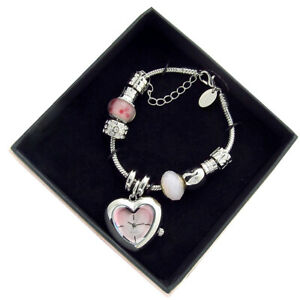 Henley Faceted Heart Crystal Bead Bracelet Watch New Boxed Great Gift H07189.5