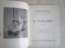 CATALOGUE EXPOSITION VUILLARD 1961 GALERIE DURAND - RUEL