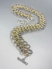 NEW Chunky Double Silver Cable Gold Rings Chain Wrap Toggle Bracelet Necklace