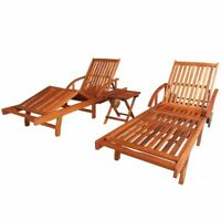 vidaXL Sunlounger and Table Set 3 Piece Solid Acacia Wood Brown Folding Sunbed
