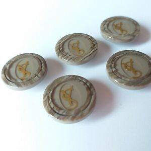 YSL Yves Saint Laurent Vintage Gray Plastic Button's 5 PC Logo Metal Gold Color