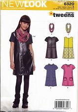 NEW LOOK SEWING PATTERN 6320 GIRLS/TEENS/TWEENS SZ 8-16 PINAFORE, DRESS & SCARF
