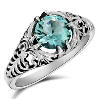 1CT Aquamarine 925 Solid Sterling Silver Vintage Art Ring Jewelry Sz 7 U-40