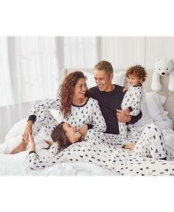 Family Matching Christmas Pajamas Set Baby Kids Sleepwear- White Gold/Black Tree