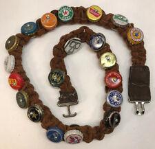 """Vintage Leather Bottle Cap Belt Brown Heineken Beer Rogue Handmade 38"""" Overall"""