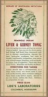 1890's Seminole Liver and Kidney Tonic Unused Bottle Label