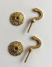 2 x Rosette Curtain Tieback Hooks/Metal Tieback Hook/Tassel Hooks/Brass Hooks