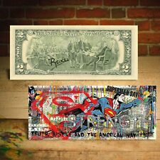 Superman Justice Comic Hero Pop Art Genuine Two-Dollar Bill Hand-Signed by Rency