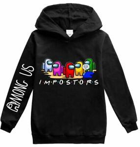 Kid boys girls sport hoodie top soft cotton blend Among Us imposter susbro 5-12y