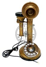 Antique Brass Rotary Candlestick Phone Retro Telephone Vintage Desk Decor Gift