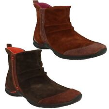 MADRASA MERRELL LADIES SLIP ON LEATHER SUEDE ZIP UP CASUAL ANKLE WINTER BOOTS
