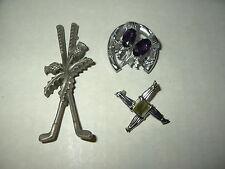 3 Vintage Silvertone Purple & Agate Celtic Scottish Thistle Kilt Brooch Pins