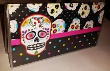 Checkbook Cover Floral Sugar Skull Colorful Dots Skulls Day of the Dead ~Gift!