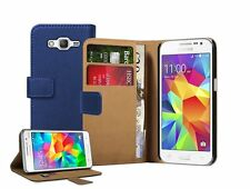 Wallet BLUE Leather Flip Case Cover For Samsung Galaxy Core Prime (SM-G360F)