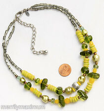 Chico's Signed Pretty! Necklace Silver Tone Double Strand Green & Yellow Beads