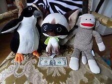 LOT Kohl's Cares SKIPPY JON JONES Chihuahua, Sock Monkey & Penguin Plush EUC