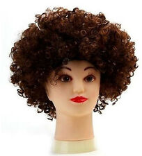 BROWN 80s CURLY AFRO WIG PARTY CLOWN FUNKY DISCO ADULTS KIDS HAIR FUZZ HEAD