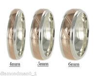 9ct Rose Gold & Argentium Silver Two Tone Multi Colour Diamond cut Wedding Ring