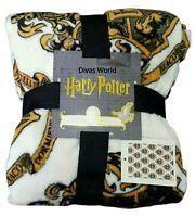 Harry Potter Soft Fleece Throw Hufflepuff Hogwarts Crest Blanket Bedroom Primark