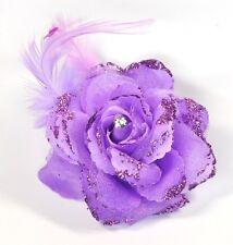 flor lila rosa Enganche pelo pinza para el cabello brillo Plumas Adorno