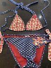 Lucky Brand Patriotic Peace Sign String Bikini Top Sash Tie Bottom USA Flag Sz S
