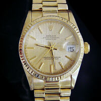 Midsize Rolex Datejust President Solid 18K Yellow Gold Watch Tapestry Dial 68278